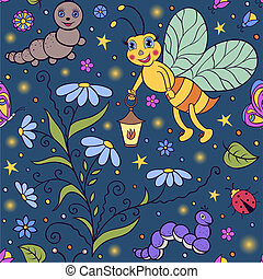 Vector illustration of seamless pattern with cute firefly in the night.