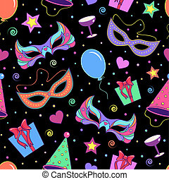seamless pattern with different elements of party