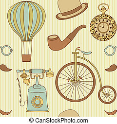 seamless pattern with different retro objects