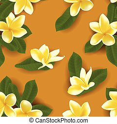 Vector illustration of seamless pattern with frangipani