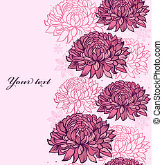 Vector illustration of seamless pattern with hand drawn chrysanthemums