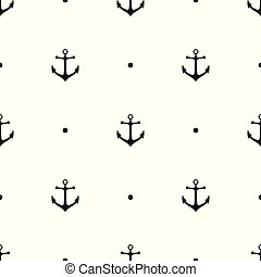 Seamless pattern with icons of anchors on a white background