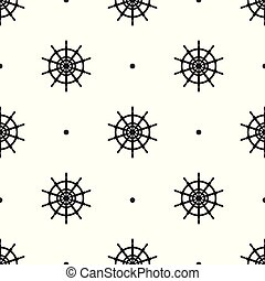 Seamless pattern with icons of steering wheels on white background