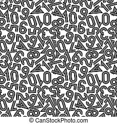 Vector illustration of seamless pattern with numbers.