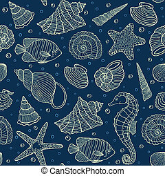 ocean inhabitants - Vector illustration of seamless pattern ...