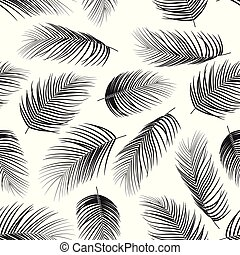 Seamless pattern with palm leaves on white background