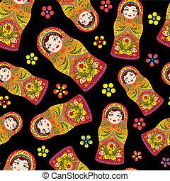 matryoshka - Vector illustration of seamless pattern with...