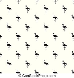 Seamless pattern with silhouette of a flamingo on white background