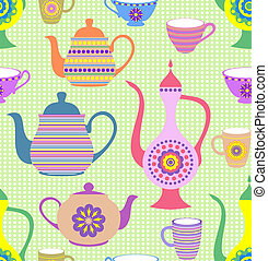 teapots and cups - Vector illustration of seamless pattern...