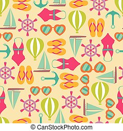 Vector illustration of seamless pattern with summer symbols