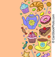 pattern with sweets, teapot and cup