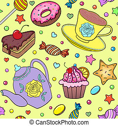 sweets, teapot and cup