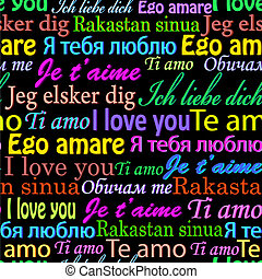 I love you on different languages - Vector illustration of...