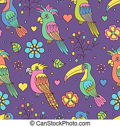 tropical birds - Vector illustration of seamless pattern...