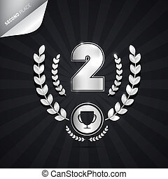 Vector Illustration of Second Place, Silver Medal Theme on Dark Background