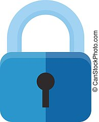 Vector illustration of security concept with locked blue combination pad flat lock.