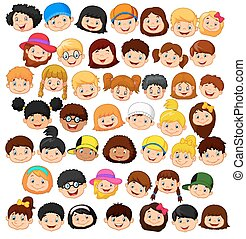 Set cartoon children head - Vector illustration of Set...