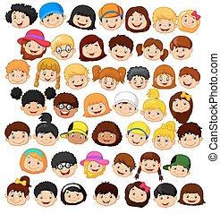 Set cartoon children head - Vector illustration of Set ...