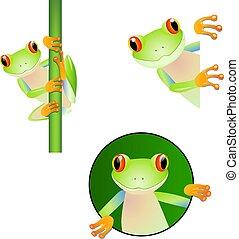 set cartoon cute frog