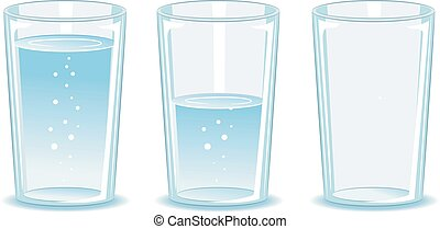 Set Glass of water - Vector Illustration of Set Glass of...