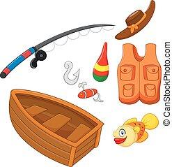 set icons fishing equipment