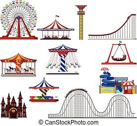 set of amusement park cartoon