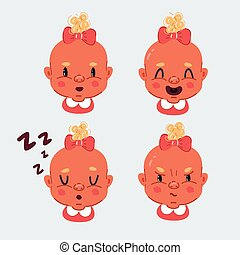 Vector illustration of Set of baby girl emotion face icons. Laughing, crying, curious, slipping, sad, happy, angry toddler expression on white