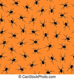 Set of black silhouettes spiders on orange background -...