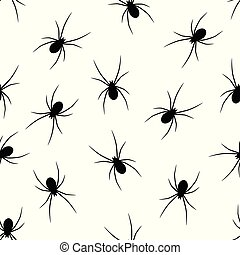Set of black silhouettes spiders on white background -...