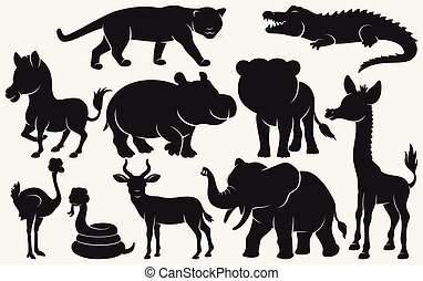 Set of black silhouettes wild animals cartoon on white background