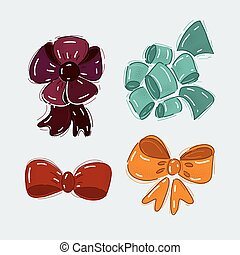 Vector illustration of Set of bow on white