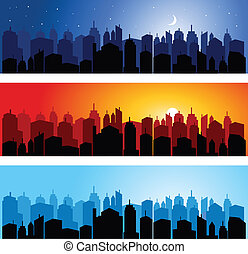 Set of city skyline - vector illustration of Set of city...