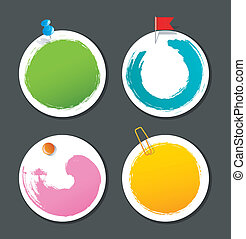 Set of color stickers with splash