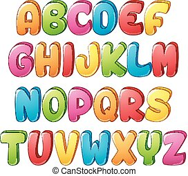 Set of colorful alphabets letter on a white background -...