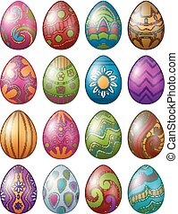 Set of colorful decorated easter eggs isolated on white background