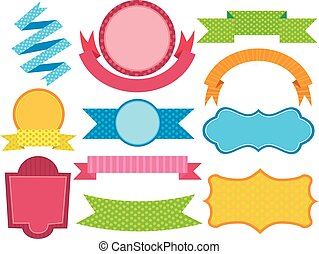 Set of Colorful Ribbon Label
