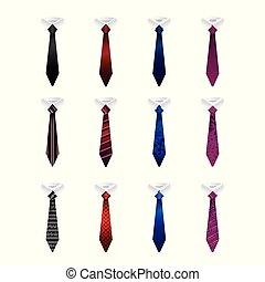 Set of colorful ties isolated on a white background