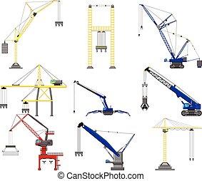 set of Construction crane