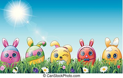 Set of easter eggs cartoon character with bunnies ears in grass background
