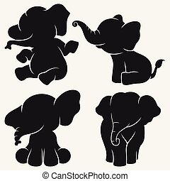 Set of elephant silhouettes cartoon with different poses and expressions