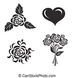 vector illustration of set of flowe
