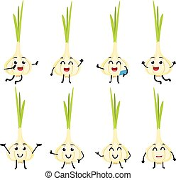 set of funny garlic vegetable cartoon character