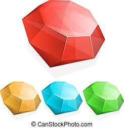 Set of gems in different color