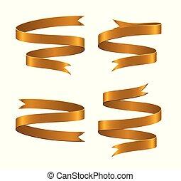 Set of gold ribbon on white background