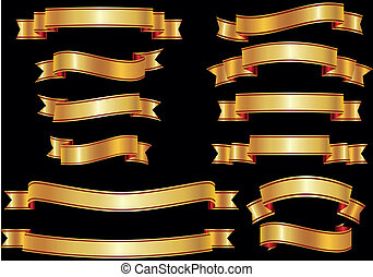 Set of golden vector ribbons or ban - Vector illustration of...