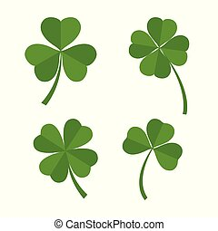 Set of green clover leaves isolated on white background