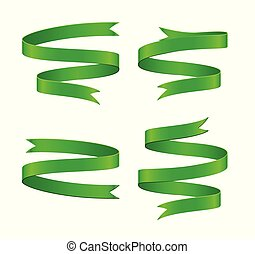 Set of green ribbon on white background