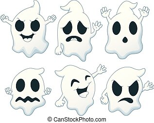 Set of Halloween ghost cartoon