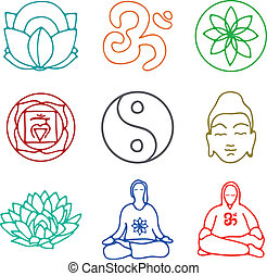 icons of yoga - vector illustration of set of icons of yoga