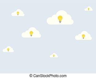 Set of ideas with a light bulb on clouds